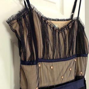 Anthro dress. Peach w/ purple embroidered overlay